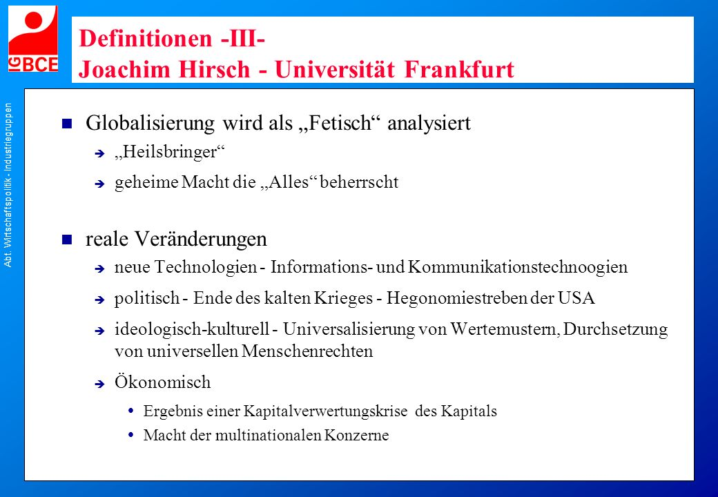 Definitionen -III- Joachim Hirsch - Universität Frankfurt
