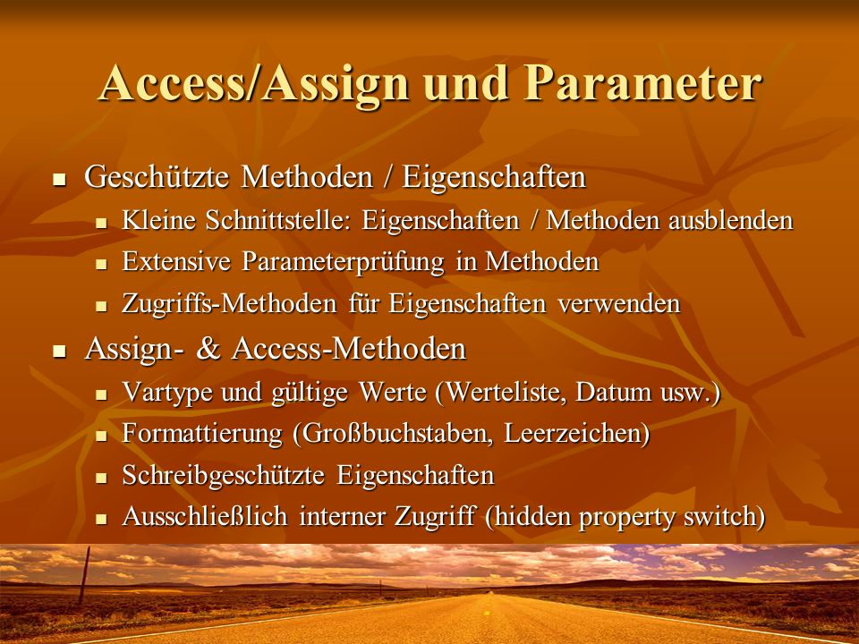 Access/Assign und Parameter