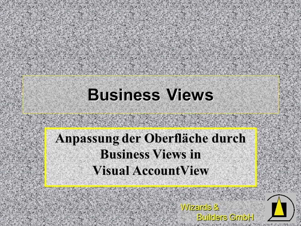 Anpassung der Oberfläche durch Business Views in Visual AccountView