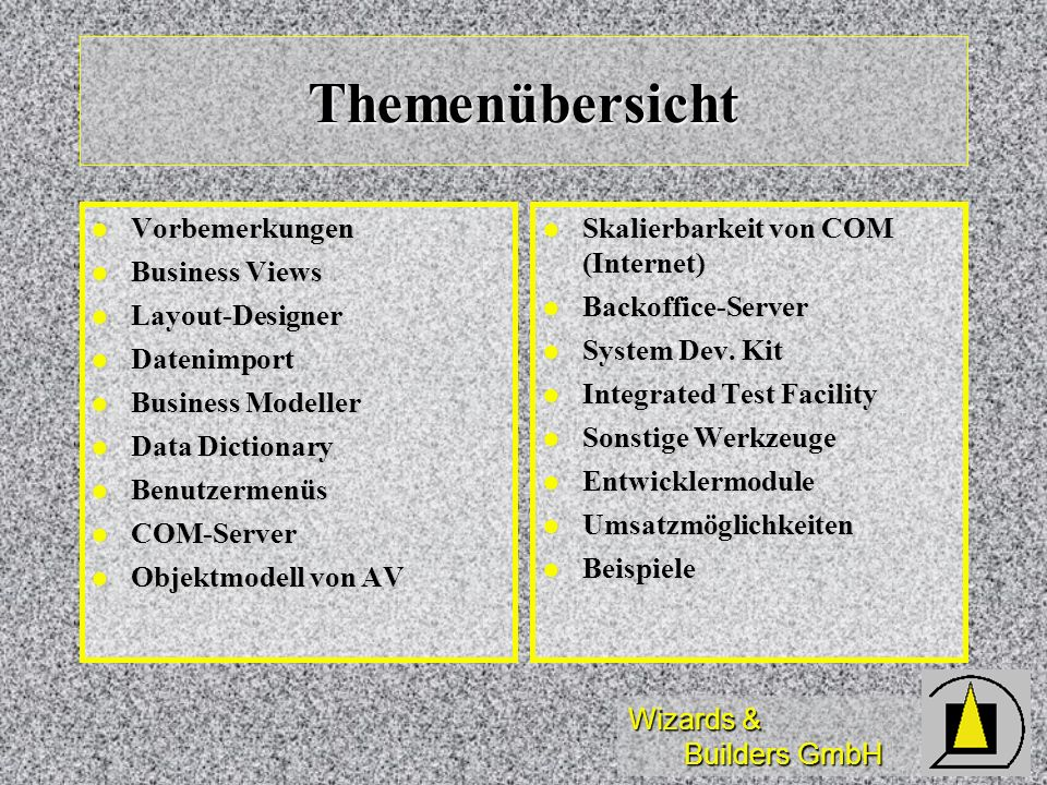 Themenübersicht Vorbemerkungen Business Views Layout-Designer