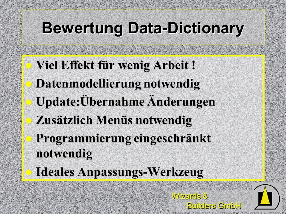 Bewertung Data-Dictionary