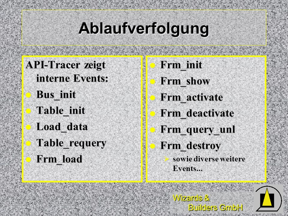 Ablaufverfolgung API-Tracer zeigt interne Events: Bus_init Table_init
