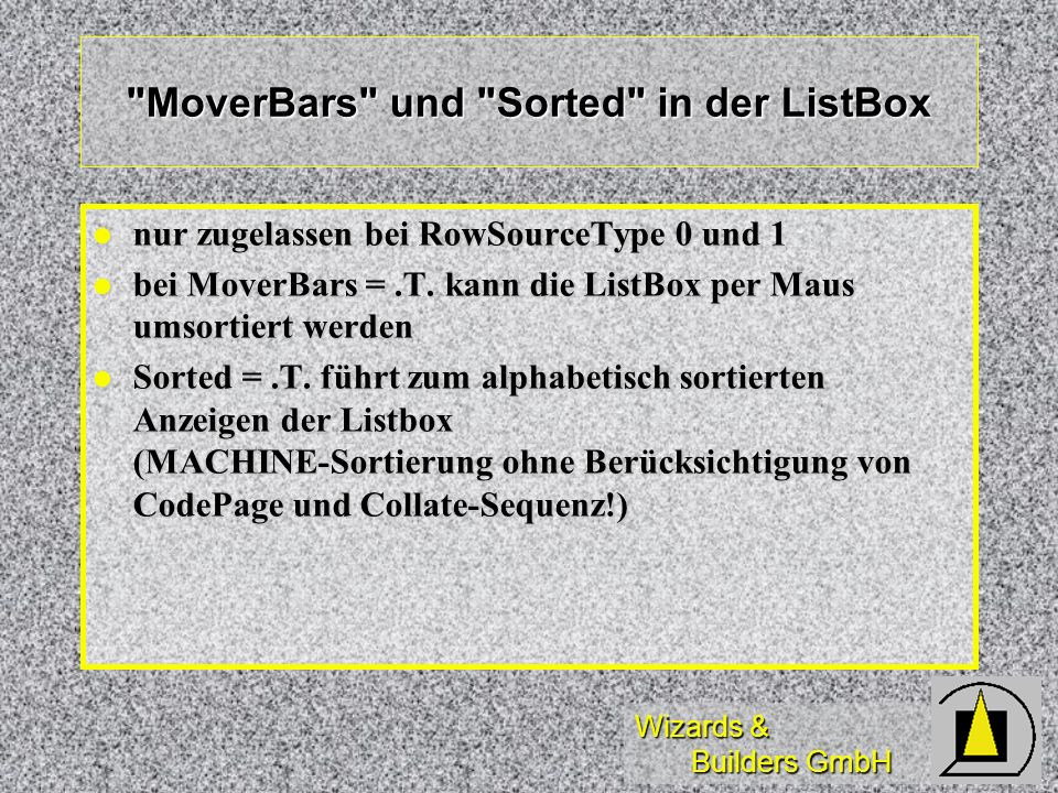 MoverBars und Sorted in der ListBox