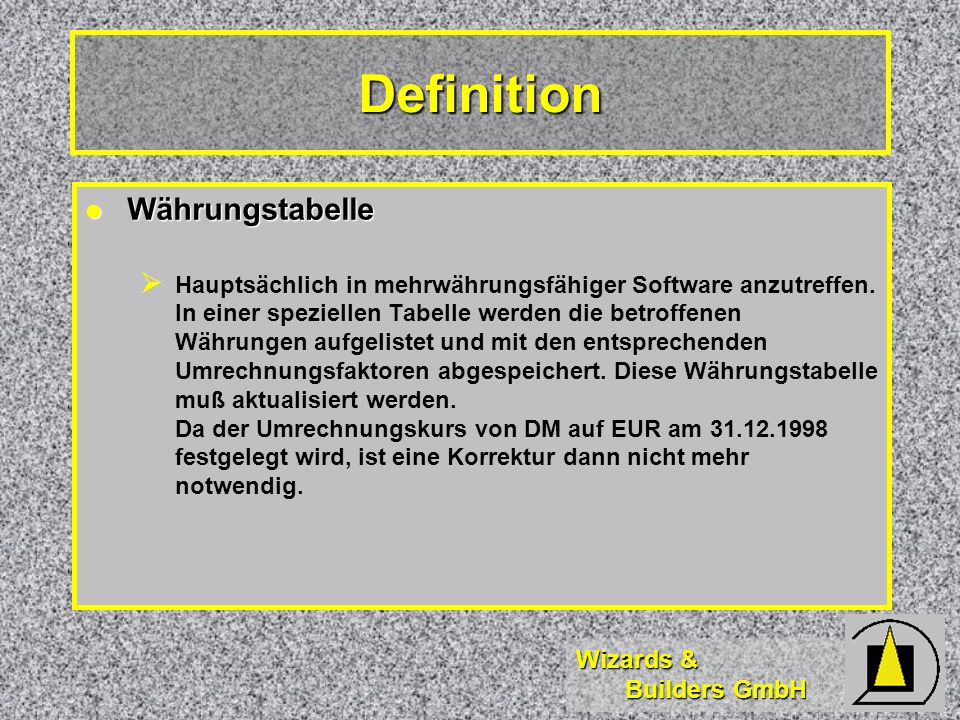 Definition Währungstabelle