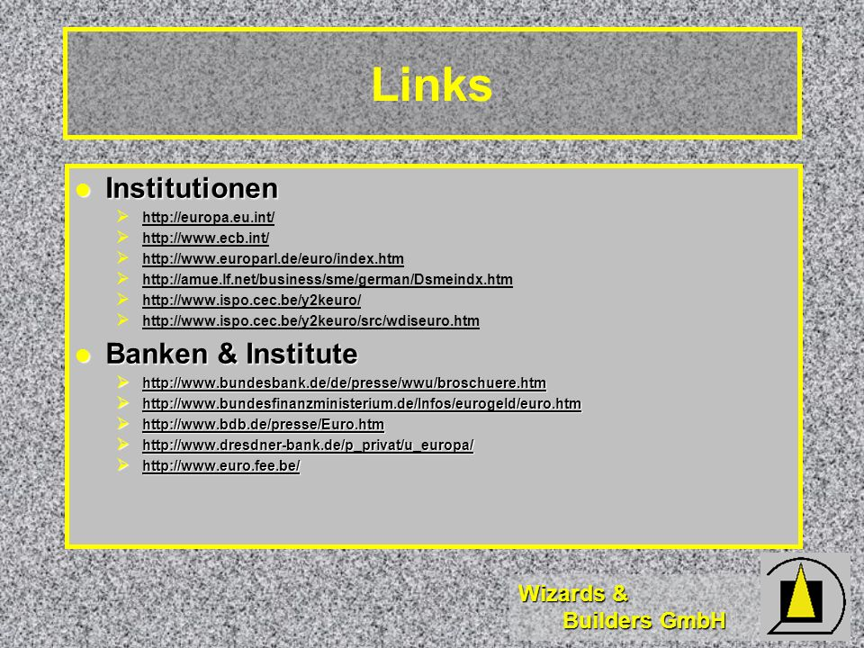 Links Institutionen Banken & Institute