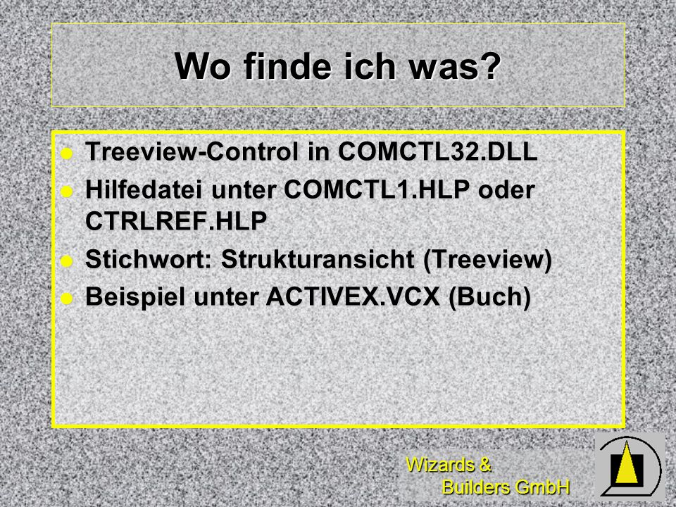 Wo finde ich was Treeview-Control in COMCTL32.DLL