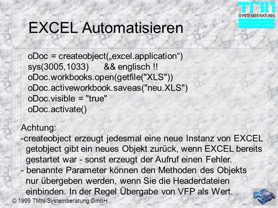 "EXCEL Automatisieren oDoc = createobject(""excel.application )"