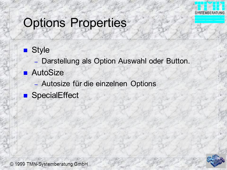 Options Properties Style AutoSize SpecialEffect