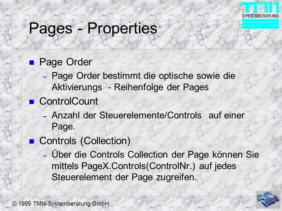 Pages - Properties Page Order ControlCount Controls (Collection)