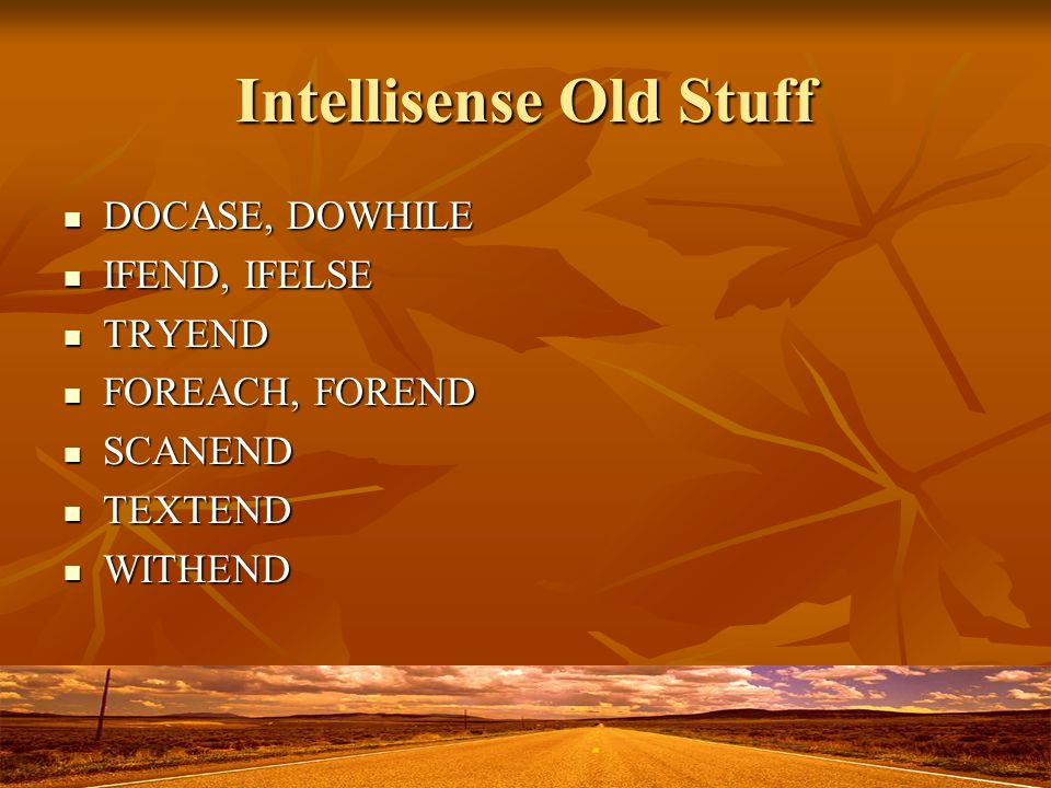 Intellisense Old Stuff