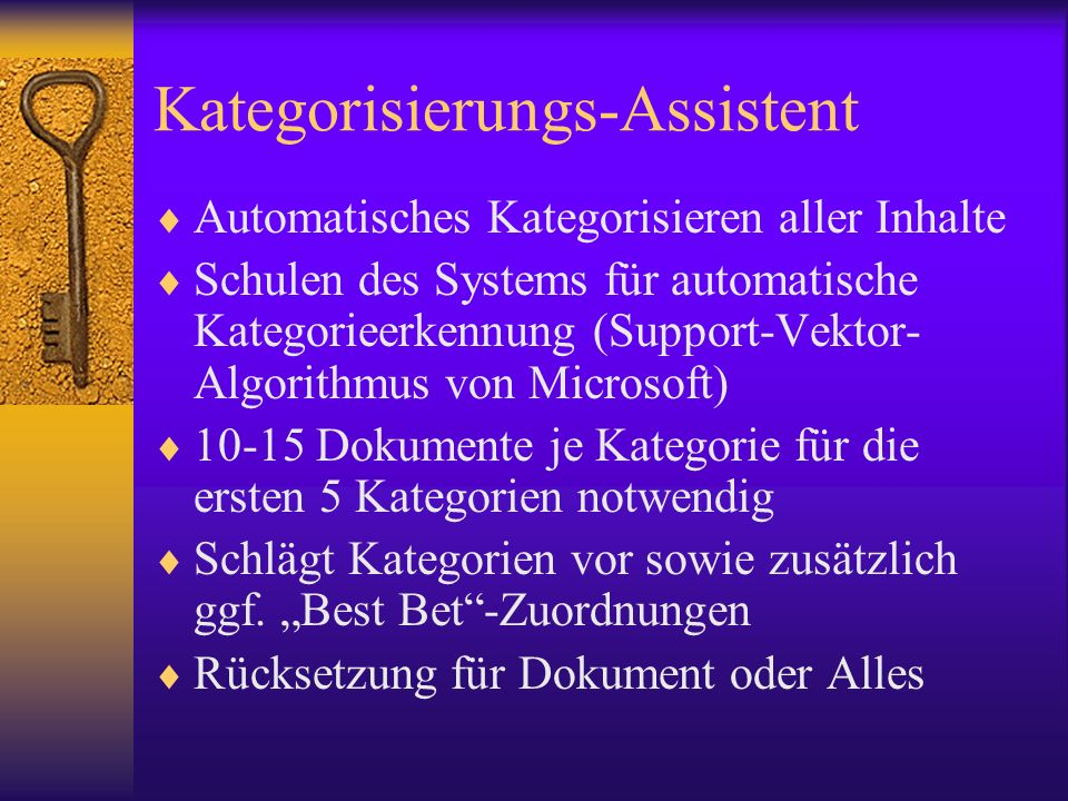 Kategorisierungs-Assistent