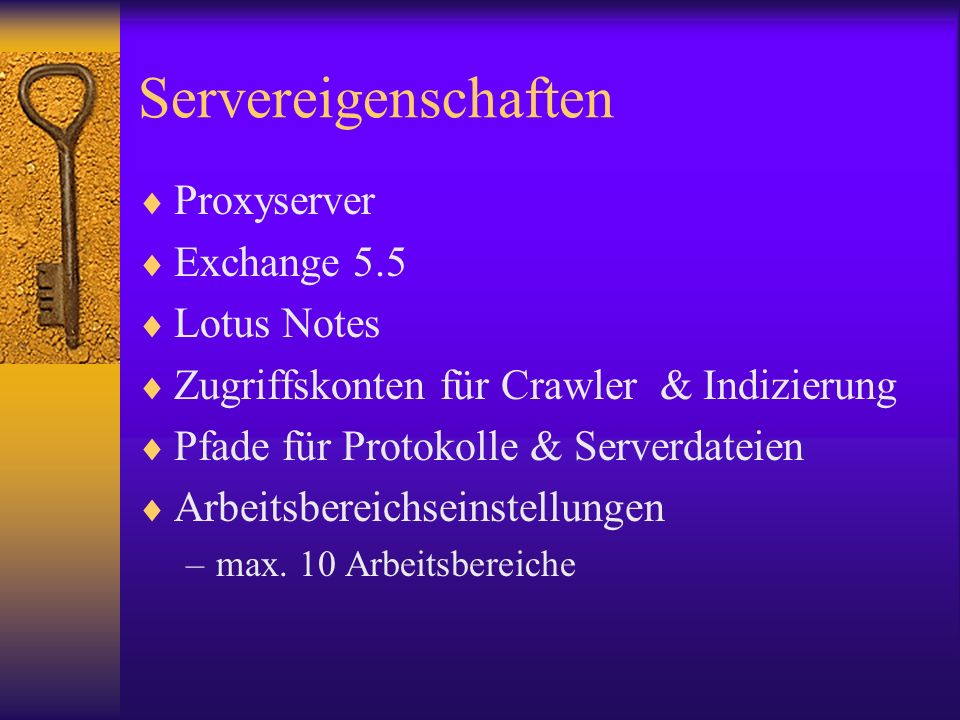 Servereigenschaften Proxyserver Exchange 5.5 Lotus Notes