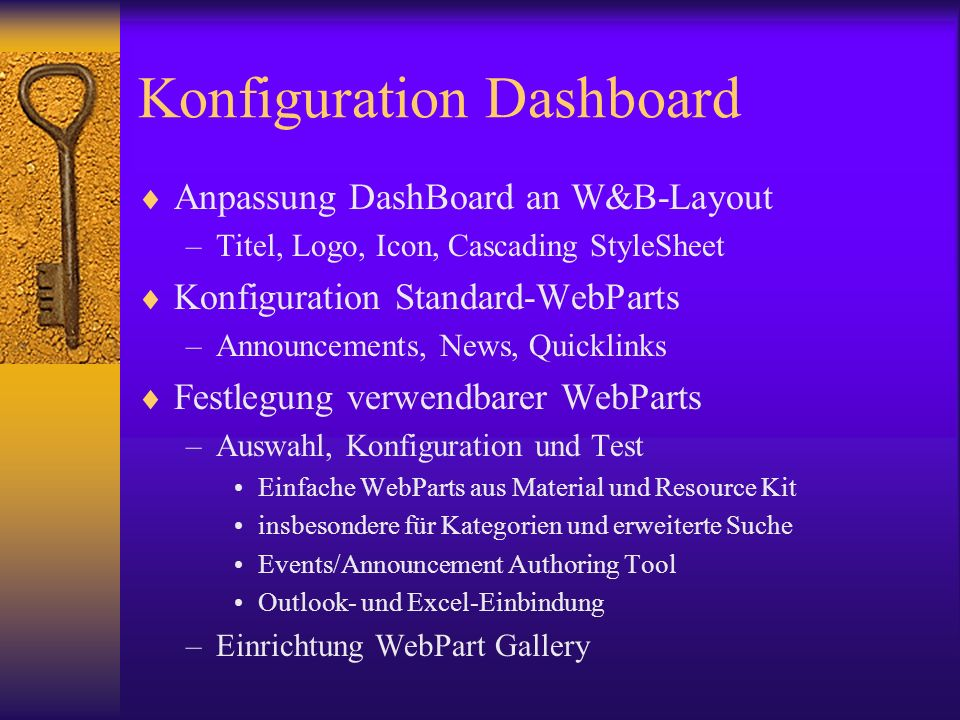 Konfiguration Dashboard