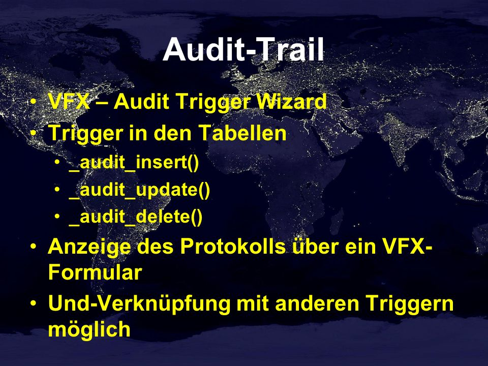 Audit-Trail VFX – Audit Trigger Wizard Trigger in den Tabellen