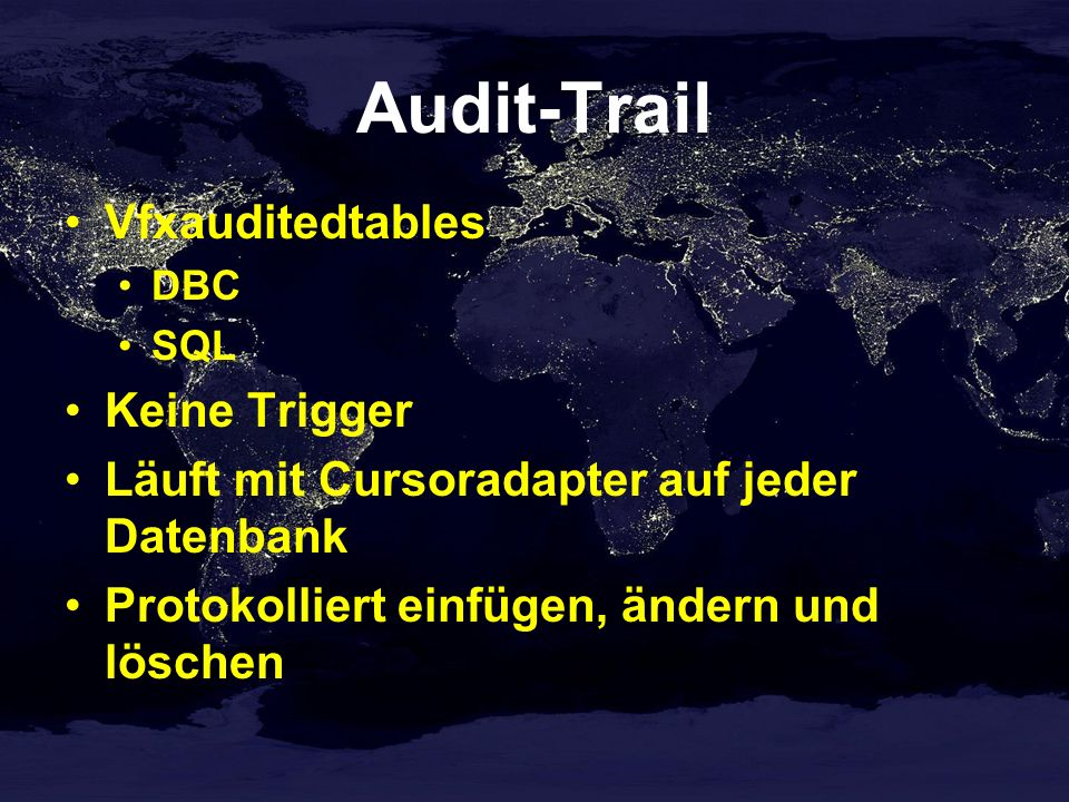 Audit-Trail Vfxauditedtables Keine Trigger