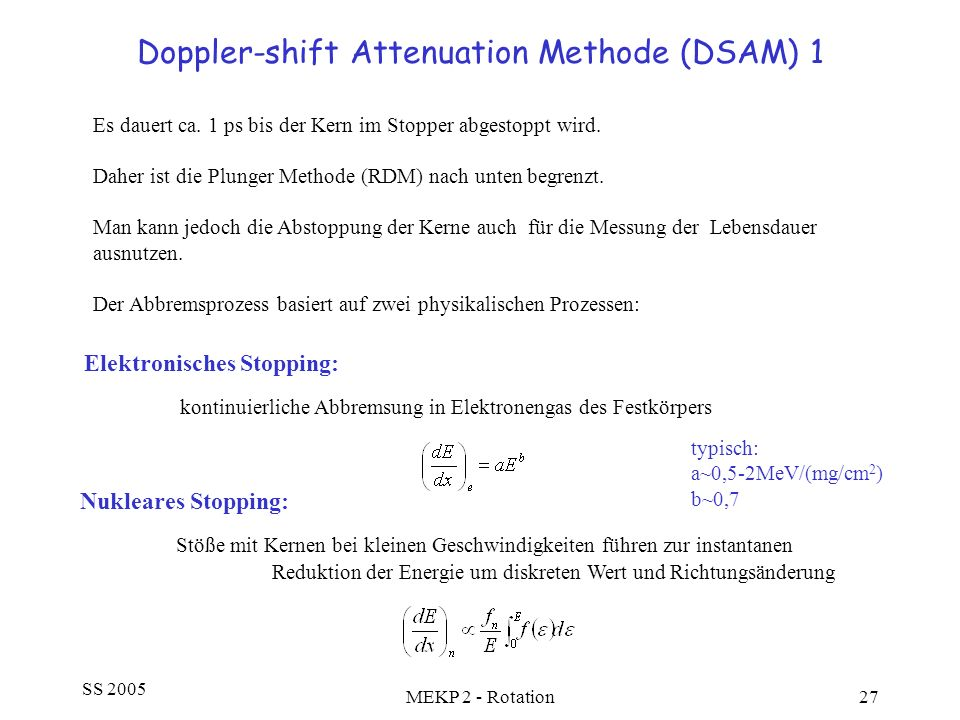 Doppler-shift Attenuation Methode (DSAM) 1