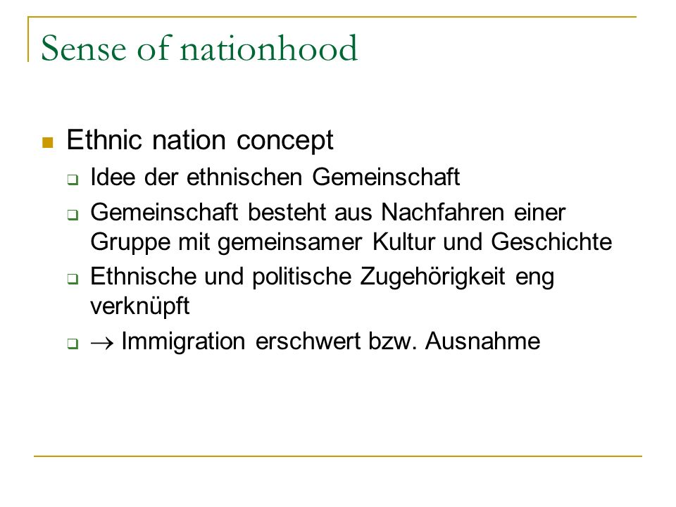 Sense of nationhood Ethnic nation concept