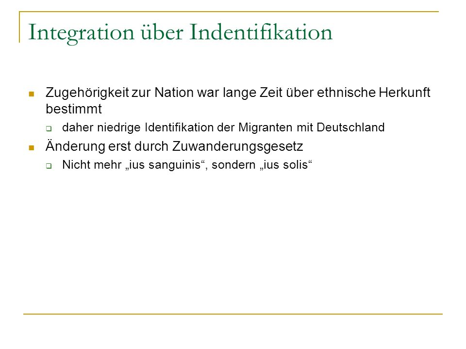 Integration über Indentifikation