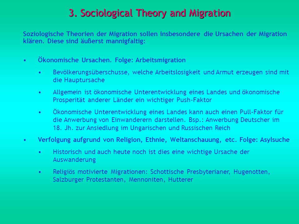 3. Sociological Theory and Migration
