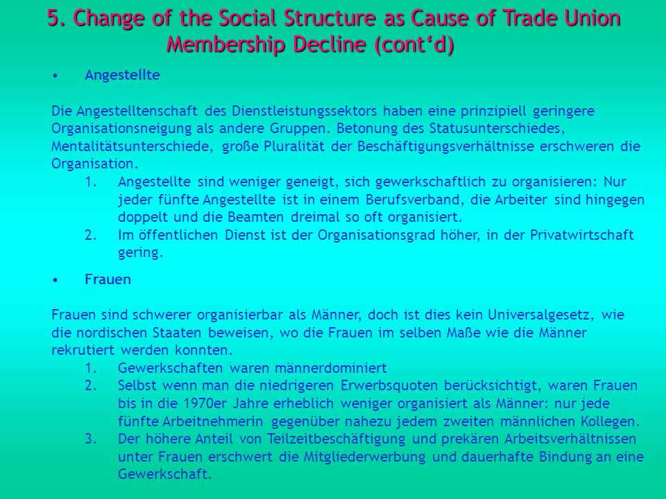 5. Change of the Social Structure as Cause of Trade Union Membership Decline (cont'd)