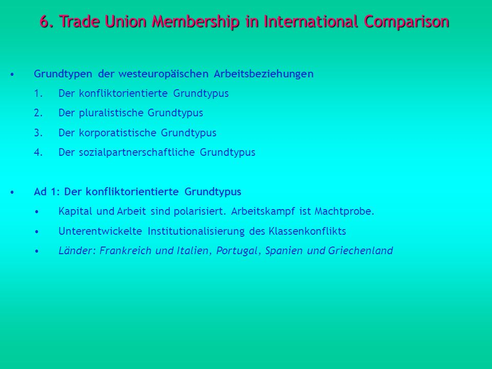 6. Trade Union Membership in International Comparison
