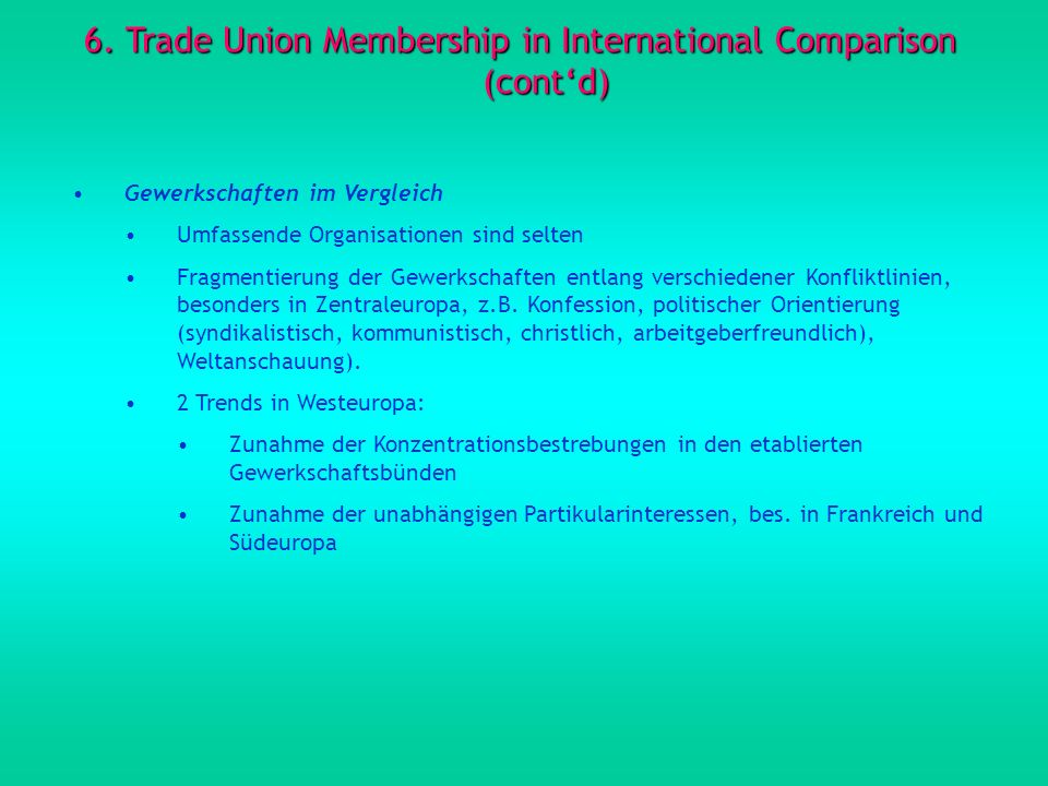 6. Trade Union Membership in International Comparison (cont'd)