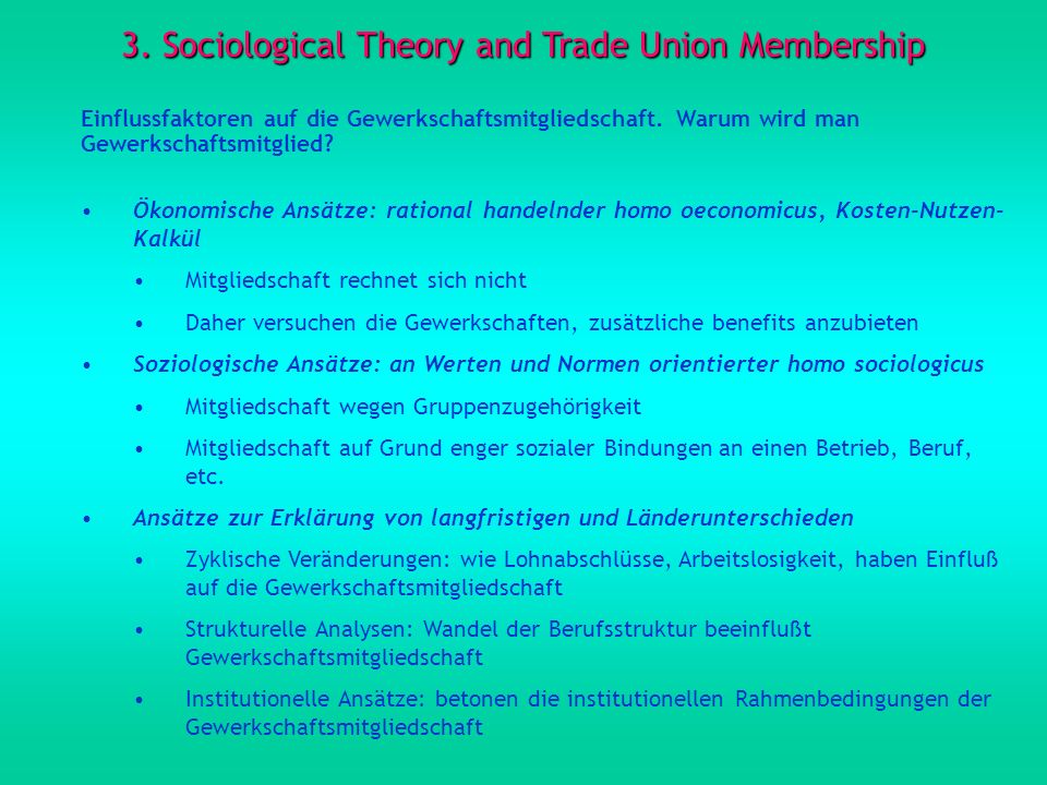 3. Sociological Theory and Trade Union Membership