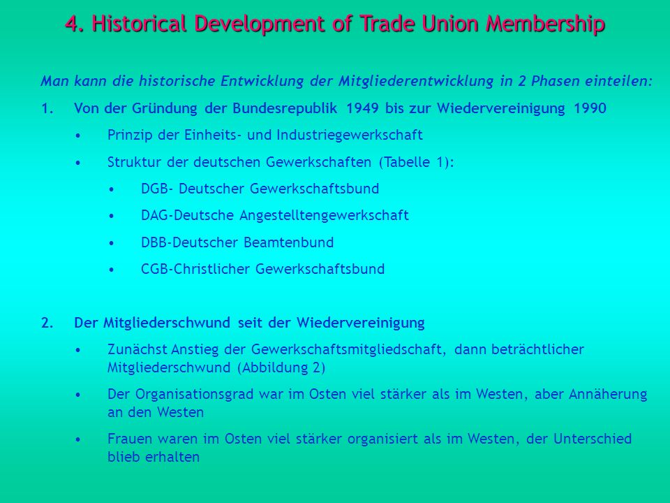 4. Historical Development of Trade Union Membership