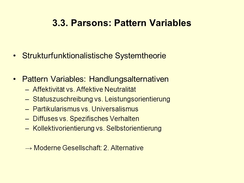 3.3. Parsons: Pattern Variables
