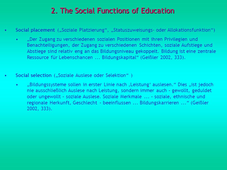 2. The Social Functions of Education