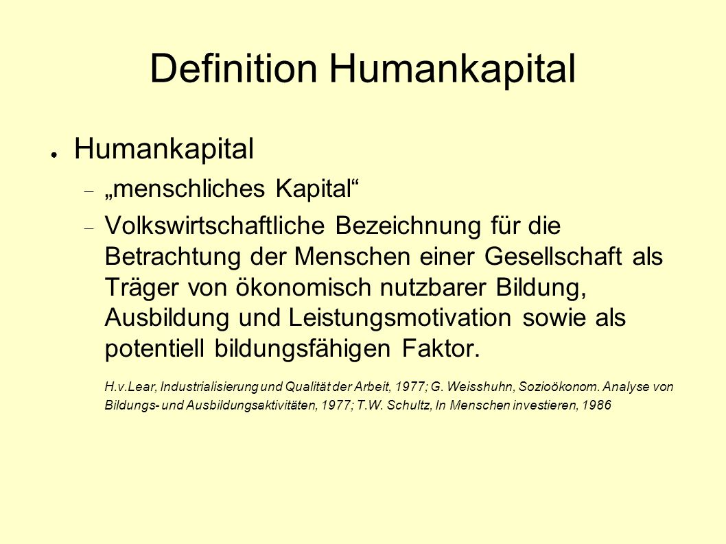Definition Humankapital