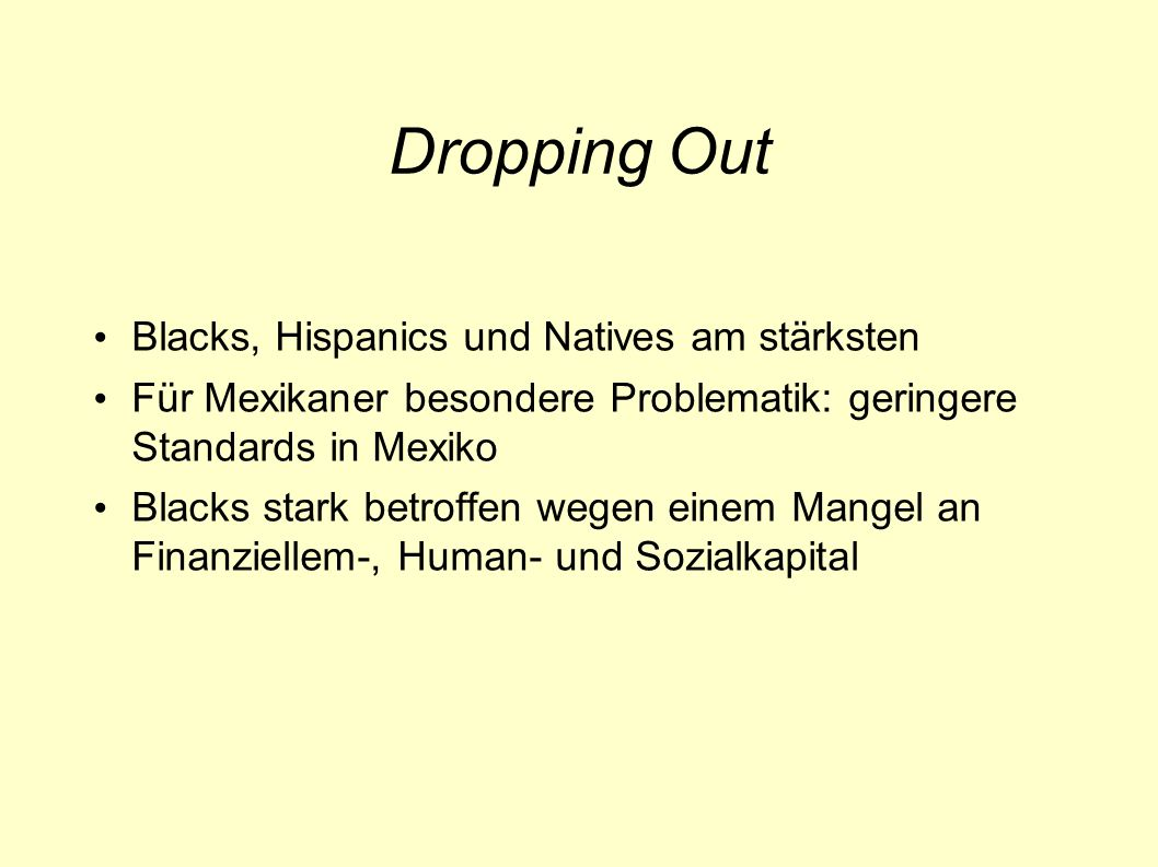 Dropping Out Blacks, Hispanics und Natives am stärksten
