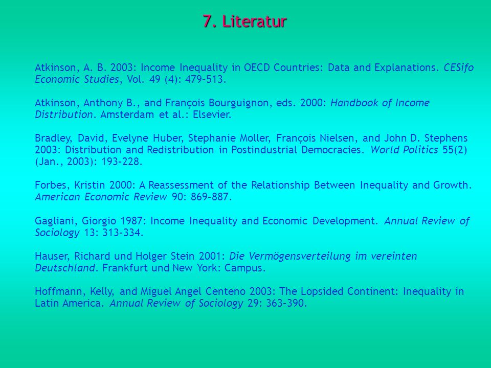 7. Literatur Atkinson, A. B. 2003: Income Inequality in OECD Countries: Data and Explanations. CESifo Economic Studies, Vol. 49 (4): 479–513.