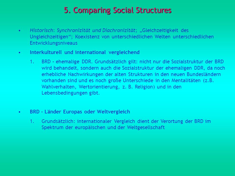 5. Comparing Social Structures