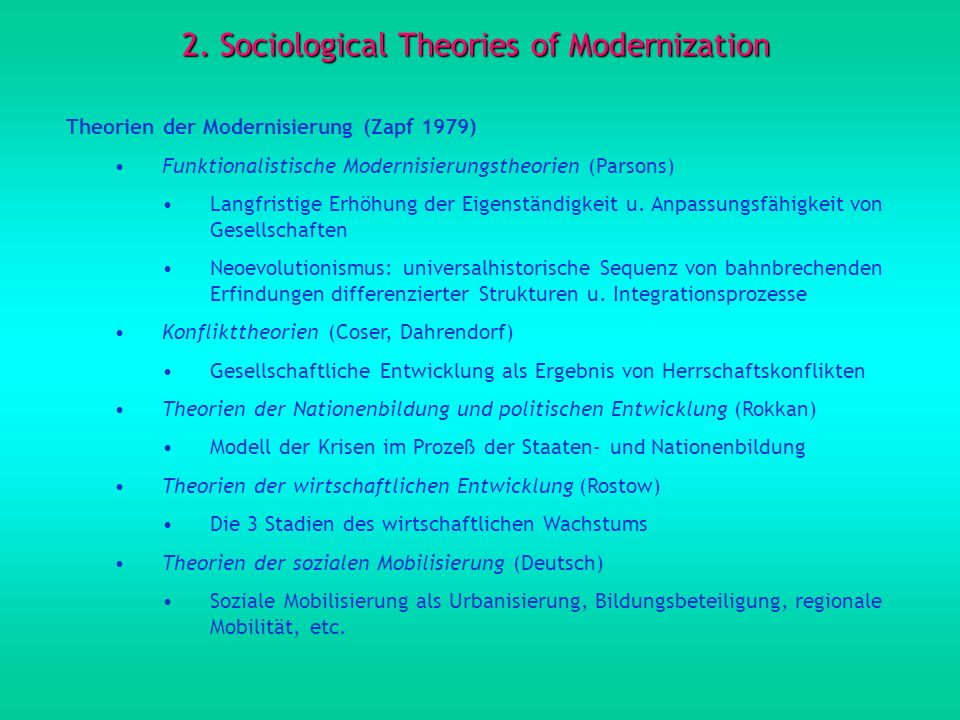 2. Sociological Theories of Modernization