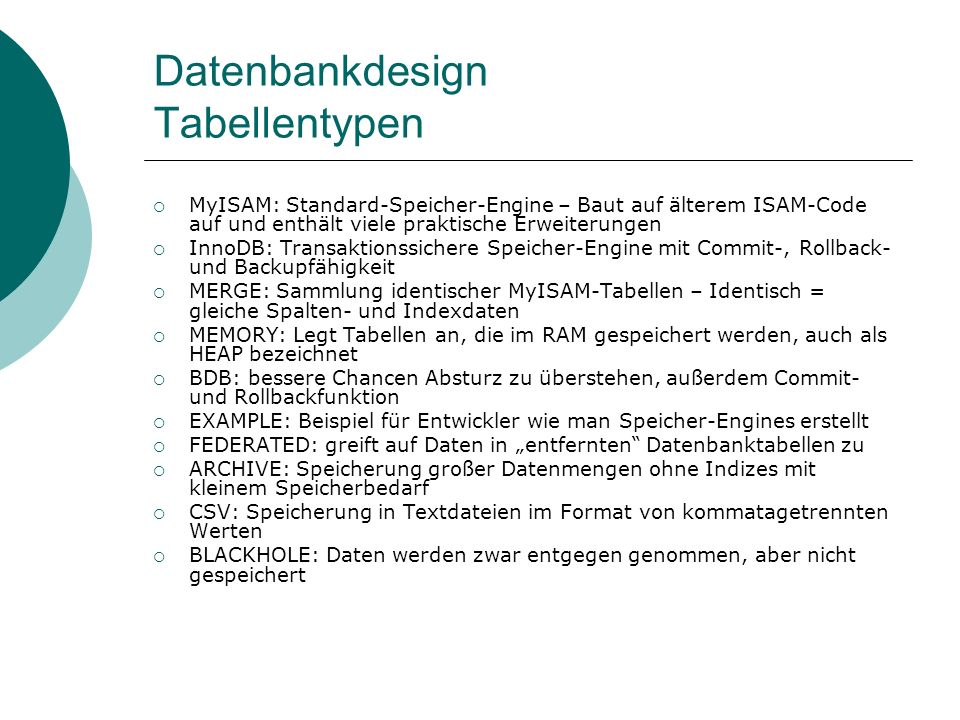 Datenbankdesign Tabellentypen
