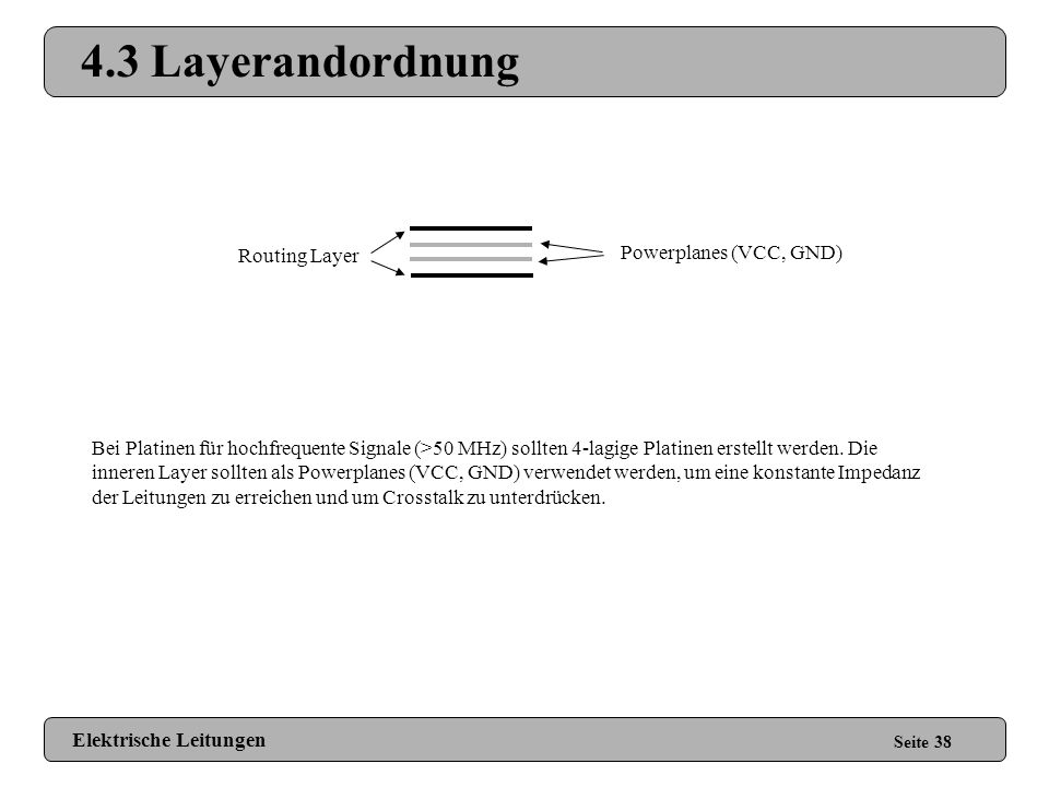 4.3 Layerandordnung Powerplanes (VCC, GND) Routing Layer