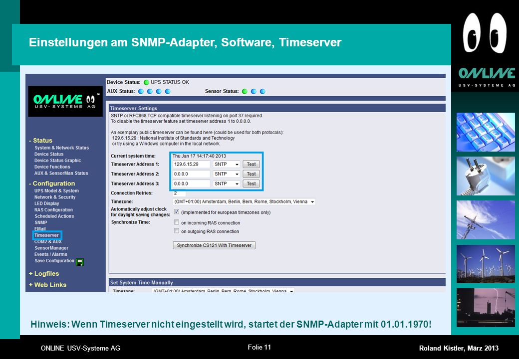 Einstellungen am SNMP-Adapter, Software, Timeserver
