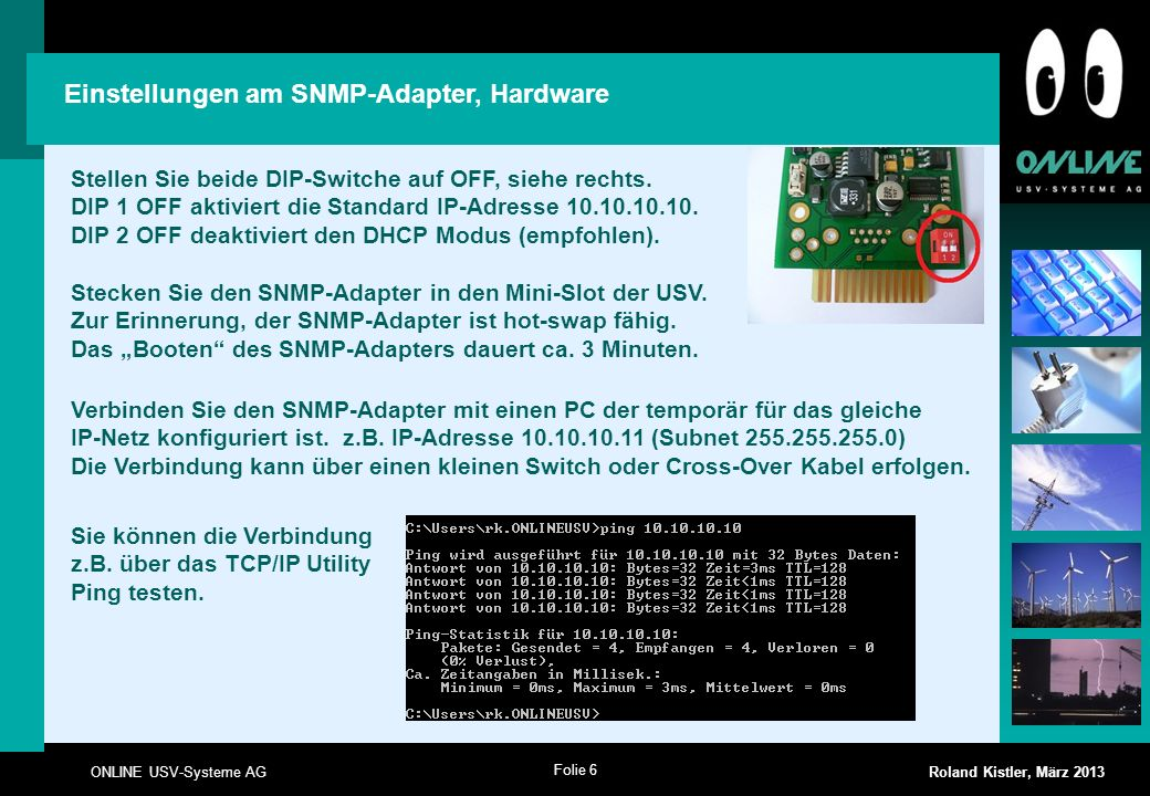 Einstellungen am SNMP-Adapter, Hardware