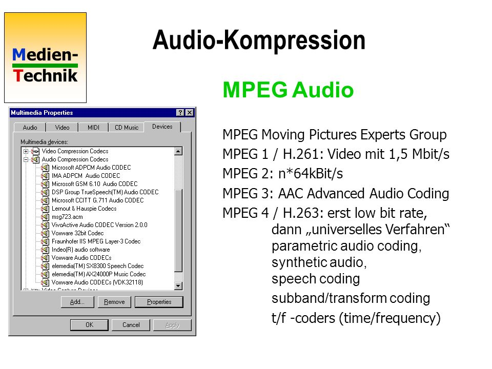 Audio-Kompression MPEG Audio MPEG Moving Pictures Experts Group