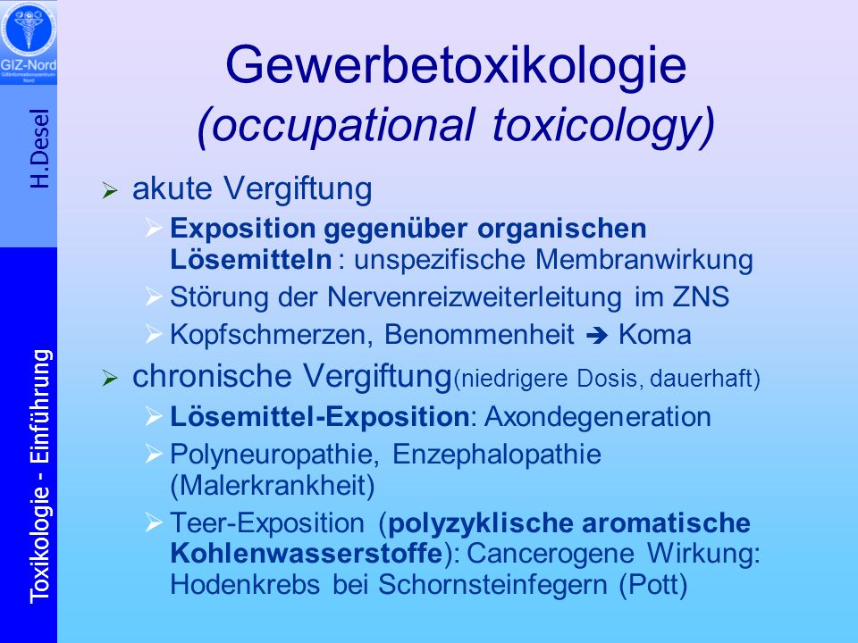 Gewerbetoxikologie (occupational toxicology)