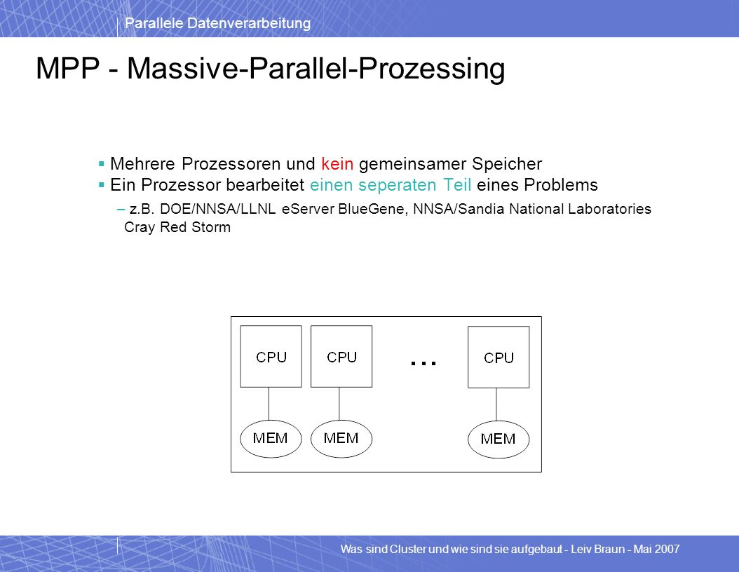 MPP - Massive-Parallel-Prozessing