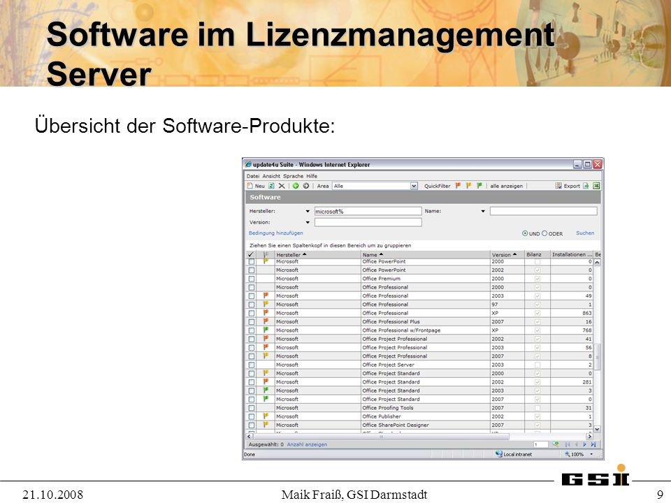 Software im Lizenzmanagement Server