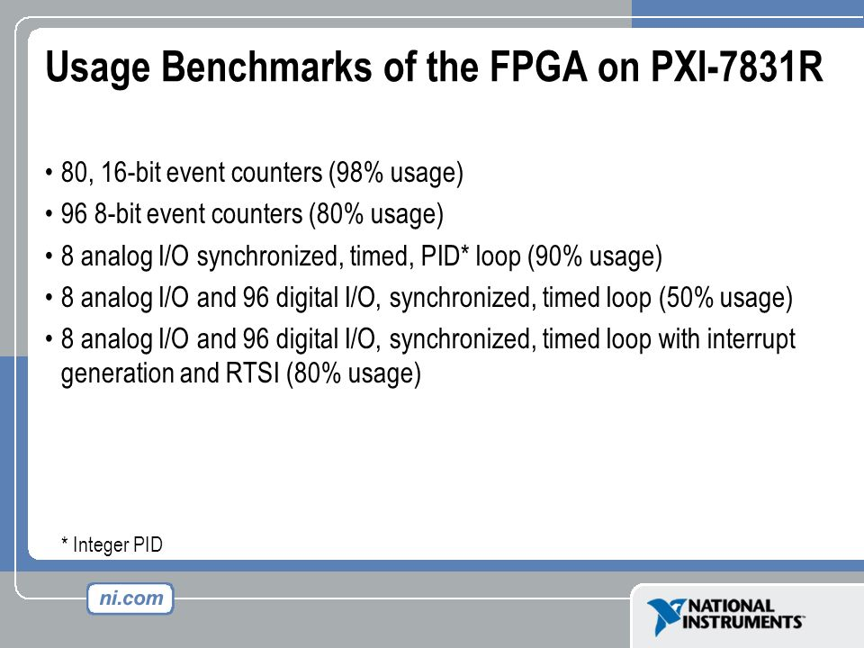Usage Benchmarks of the FPGA on PXI-7831R