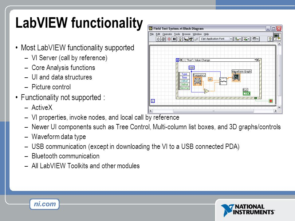 LabVIEW functionality