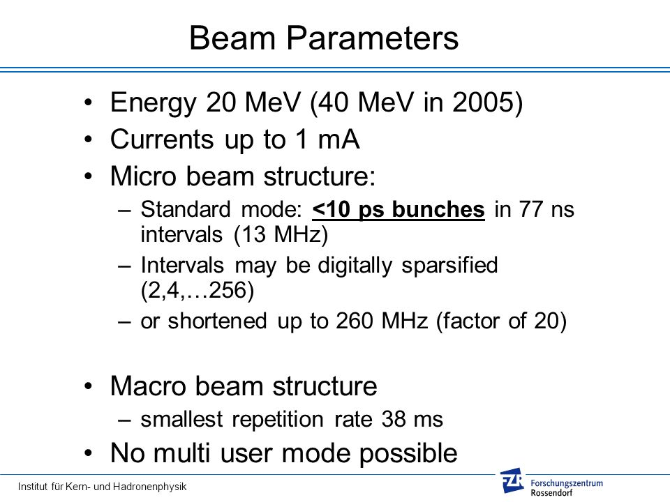 Beam Parameters Energy 20 MeV (40 MeV in 2005) Currents up to 1 mA