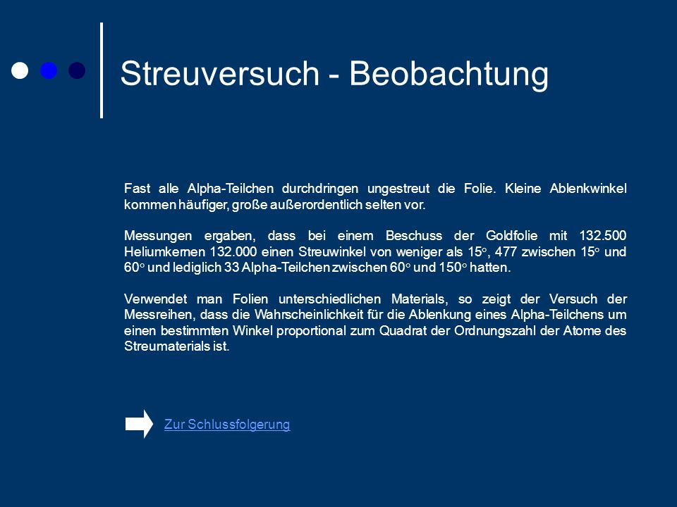 Streuversuch - Beobachtung