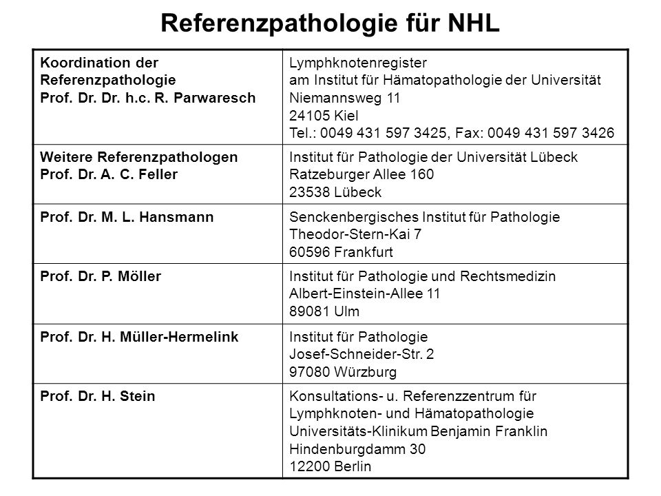Referenzpathologie für NHL