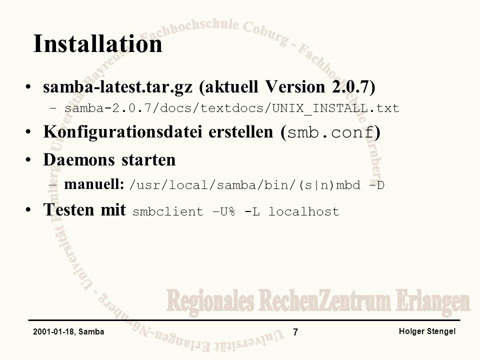 Installation samba-latest.tar.gz (aktuell Version 2.0.7)