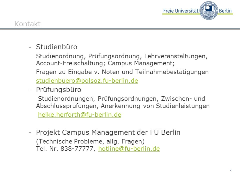 Projekt Campus Management der FU Berlin